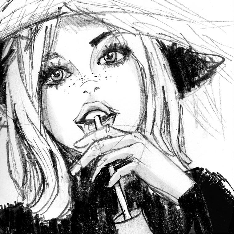 Cóctel: dibujo a lápiz