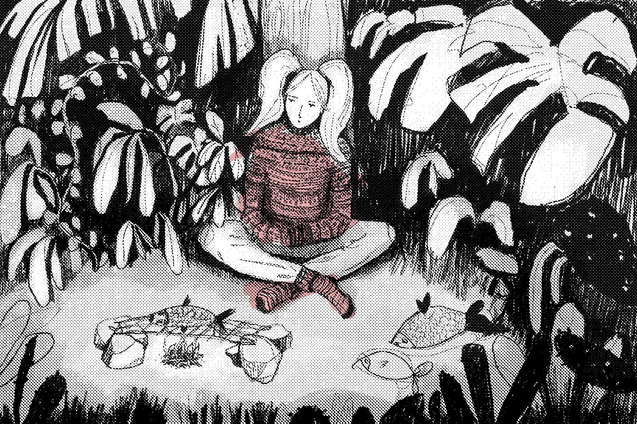 Parrilla de pez en el bosque
